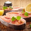 Foto de Stock  : Fresh raw salmon steak slices