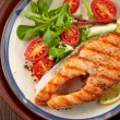 Fresh grilled salmon steak slice — Stock Photo