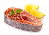 Fresh raw salmon steak slices — Stock Photo