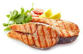 Fresh grilled salmon steak slices — Stock Photo