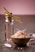 Sea salt and aroma oil — Stock Photo