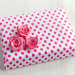 Stock Photo: Gift box with pink decorative roses