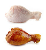 Raw and Roasted chicken legs — Stock Photo