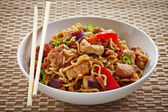 Bowl of noodles — Stock Photo