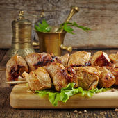 Grilled pork meat kebab — Stock Photo