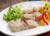 Fried pangasius fish fillet pieces — Stok fotoğraf