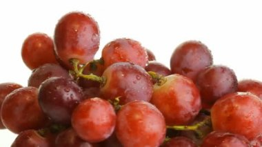Red grapes on a white — Stock Video #22647265