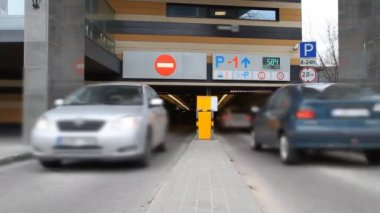 Enter underground parking, timelapse — Stock Video