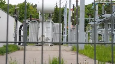 High-voltage transformer substation — Stock Video