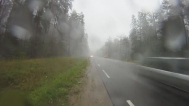 Road in the rain, rear view — Stock Video #22731237