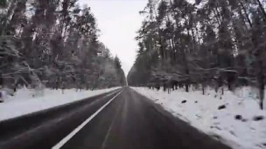 Winter road, timelapse — Stock Video