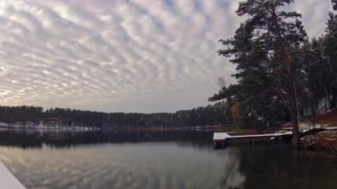 Winter lake panorama timelapse — Stock Video