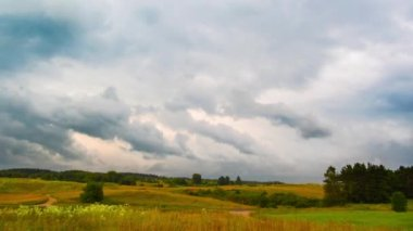 Landscape with rain clouds, time-lapse — Stock Video