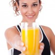 Woman holding fresh juice — Stock Photo #1149539