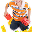 Young boy playing with building blocks — Stock Photo #2277900