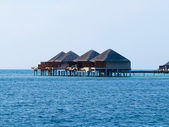 Water bungalows at maldives — Stock Photo