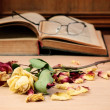 Royalty-Free Stock Photo: Dry rose and the old book