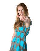 A garota mostra um polegar sobre fundo branco — Foto Stock