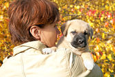The woman with a puppy in hands against autumn leaves — Stockfoto