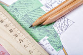 Topographic map and pencils close up — Stock Photo