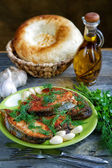 Still-life with fried fish and bread — Foto Stock