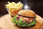 Hamburger with Beef & bacon — Stock Photo