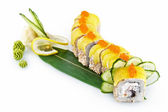 Sushi Yellow Dragon isolated on white background — Stock Photo