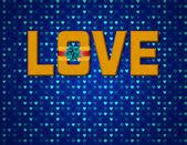 Text liebe mit bändern — Stockfoto