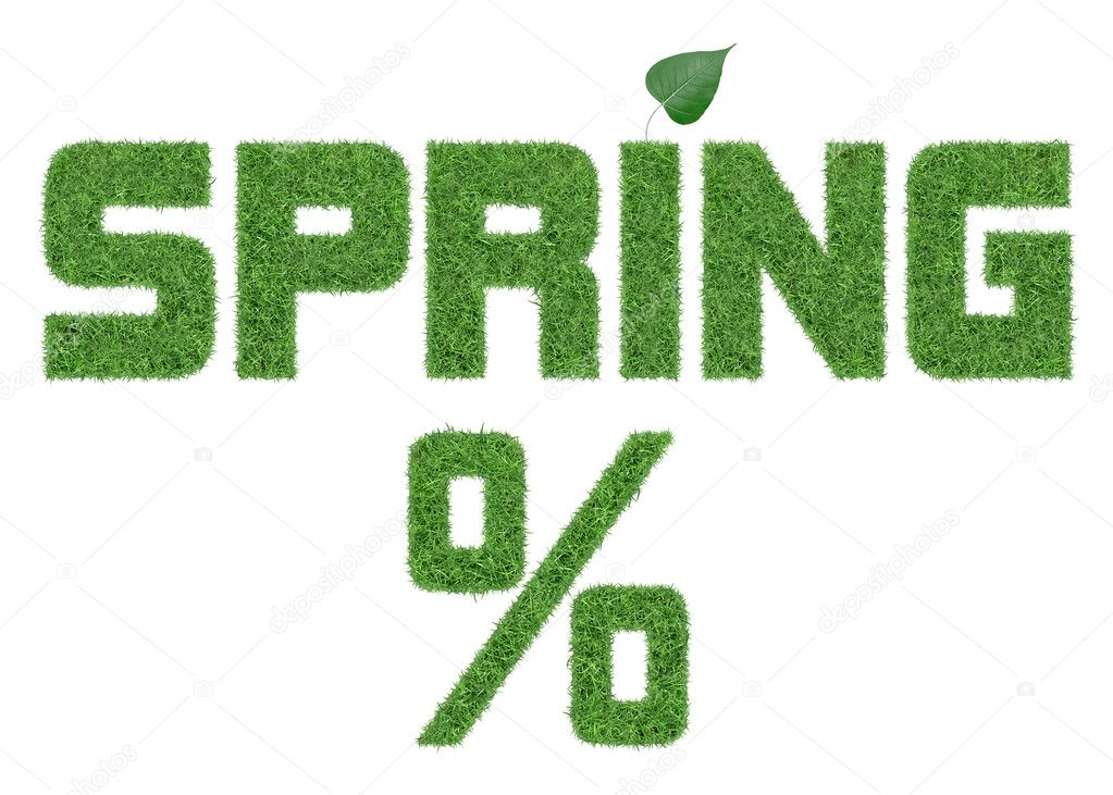 Spring word from grass letters with leaf  Stock Photo #18639525