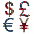 Currencies in typographic style — Stock Photo