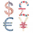 Currencies in typographic style - Stock Photo