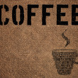 Typographic symbol coffee on sacking — Stock Photo
