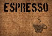Typographic symbol coffee on sacking — Stock Photo
