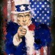 Stock Photo: Poster of Uncle Sam and USflag