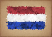 Flag of Netherlands painted with watercolors — Stock Photo
