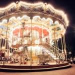 Illuminated vintage carousel — Stock Photo #24560287