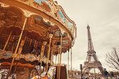 Paris retro carousel — Stok fotoğraf