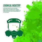 Gas mask and chemical industry — Stock Vector