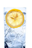 Fresh cool water with ice and lemon — Stock Photo