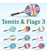 テニス ラケット & フラグ — ストックベクタ
