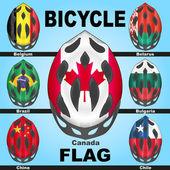 Casques de vélo icônes et drapeaux des pays — Vecteur