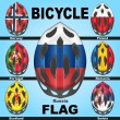 Постер, плакат: Icons bicycle helmets and flags countries