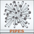 Stock Vector: Sheaf of metal piles
