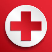 Vector first aid medical button symbol — Stock Vector