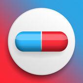 Vector pillen medische knopsymbool — Stockvector