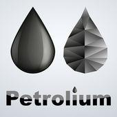 Vector illustration of two petroleum black drop — Stock Vector