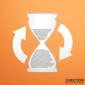 Reloj de arena con un campo para el texto — Vector de stock
