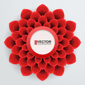 Greeting card with paper flower — Vettoriale Stock