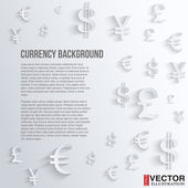 Business background with various currency symbol — Stock Vector