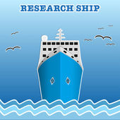 Research or fisherman nautical vessel. — Stock Vector